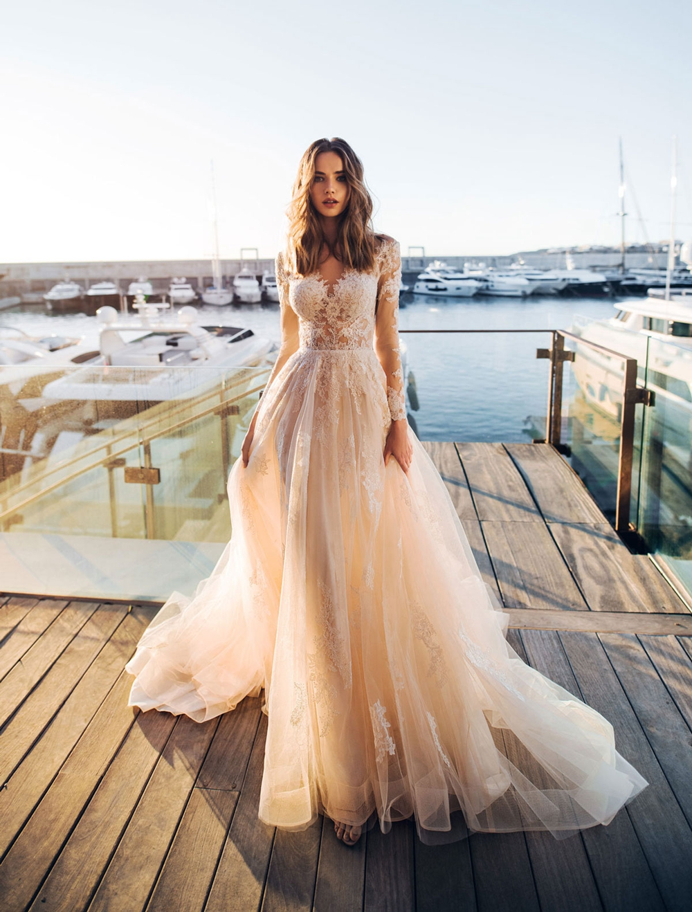 Sexy Sheer Lace Tulle  Boho Wedding Dresses Long Sleeves A-line Bridal Gown Bohemian Beach Informak Bride Dress Customized