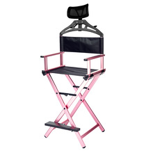 Makeup-Chair Professional Portable Salon Aluminum Black with Headrest Academy Director