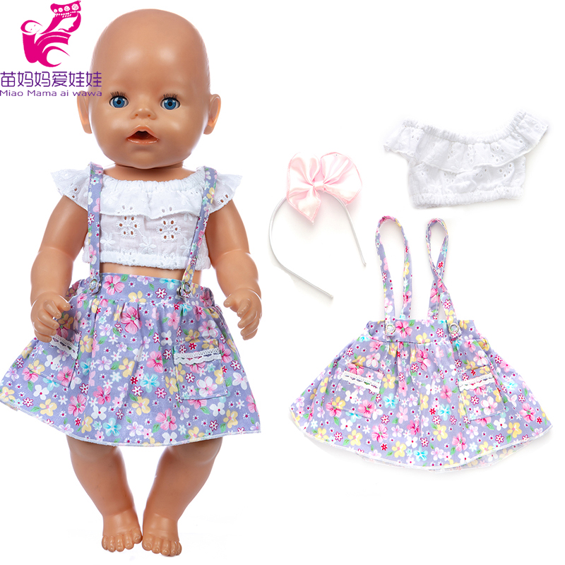 43 Cm Baby New Born Doll Summer Flower Dress 18 Inch Girl Doll Clothes Shirt Dress Headwear