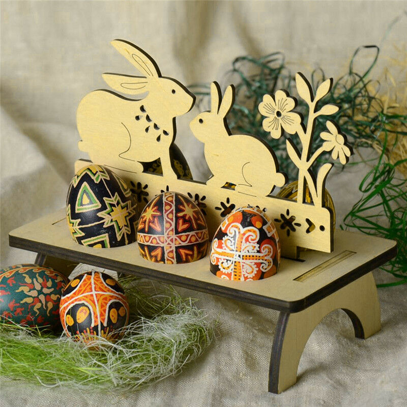 Wooden Happy Easter Egg Decoration For Home Tray Holder Stand Easter Rabbit Chick Egg Shelves Easter Party Ornament Shop Decor