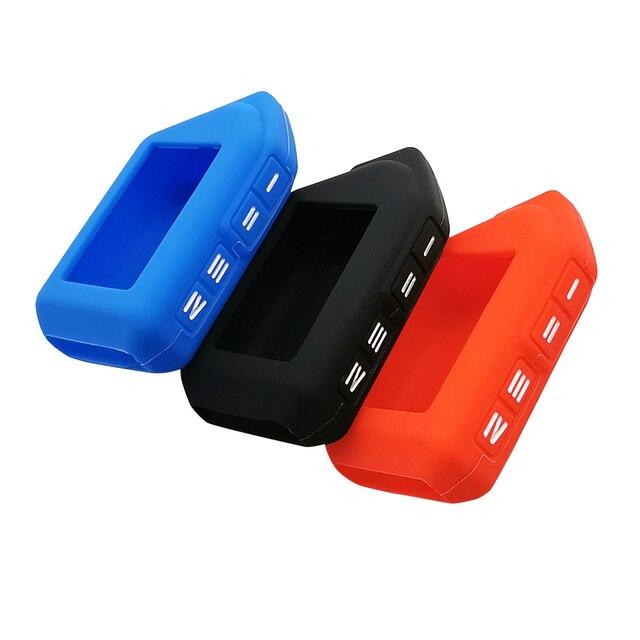 Funda de silicona para llave de coche, para Sher khan Mobicar A Mobicar B, versión rusa, LCD bidireccional, mando A distancia, llavero con alarma