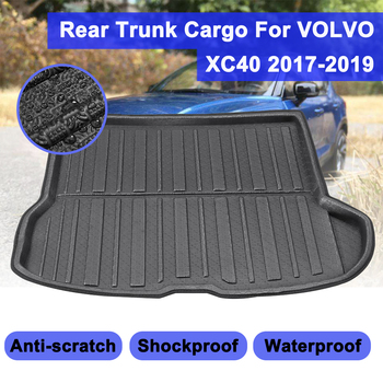 Car Rear Trunk Cargo Mat Auto Boot Liner Tray Floor Sheet Carpet Mud Protector For Volvo XC40 2017 2018 2019 Waterproof image