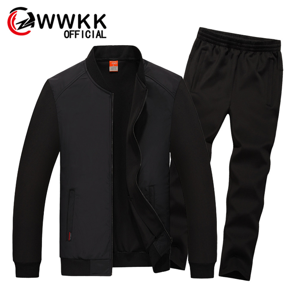WWKK Men Tracksuits Solid Color Sportswear 2019 Autumn Men's Jacket + Pants Tracksuit Male Sweatshirt Casual 2 Piece Set Casuais