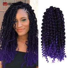 Wignee Jerry Curly Crochet Twist Braids 흑인 여성을위한 합성 헤어 익스텐션 3 개/몫 Ombre Purple/Grey Natural Hairstyles