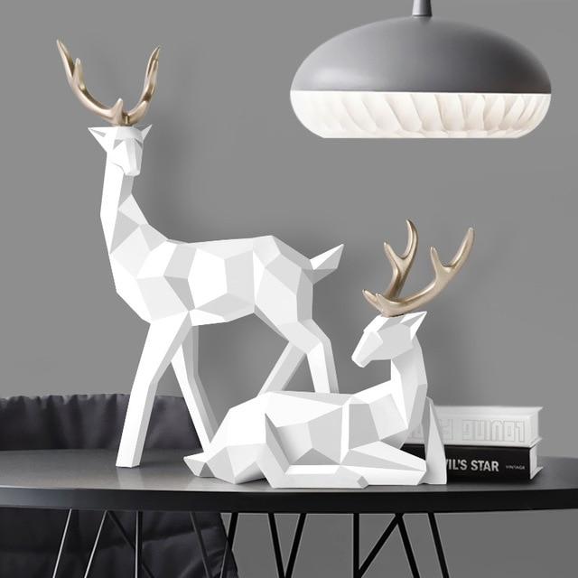 Deer Statue Family Deers Figurines Resin Sculpture Home Decor Reindeer Scandinavian Home living room decoration 1