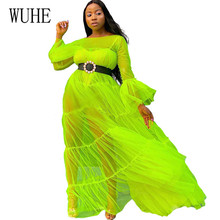 WUHE Women See Through Mesh Sexy Dress Long Sleeve Hollow Out Maxi Fashion Loose Club Party Elegant Perspective Dresses
