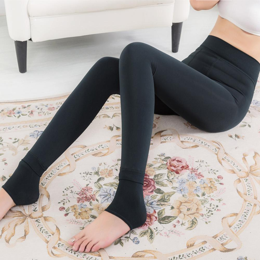 Solid Women's Winter Warm Leggings Ankle-Length Solid Pants High Waist Pants Plus Velvet Thickening Female Plus Pants Leggings