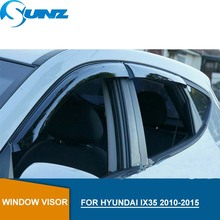 цена на Side Window Deflector For Hyundai IX35 2010 2011 2012 2013 2014 2015 ABS Black Window Visor Vent Shades Sun Rain Deflector SUNZ