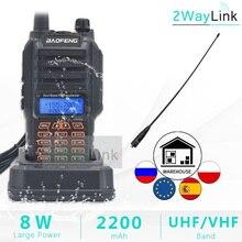Baofeng Walkie talkie impermeable, aparato de comunicación con resistencia al agua IP67, banda dual y estación de radio UHF VHF, transceptor, 8W, distancia de hasta 10km, UV 9R Plus, UV XR UV 9R