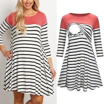 3/4 Sleeve Striped Women Maternity Dresses 2