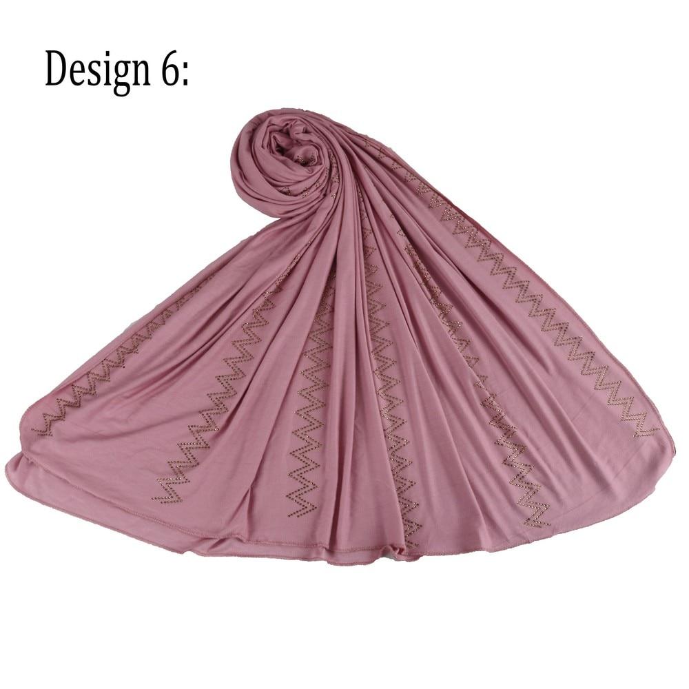 SMG D06 New Fashion Rhinestone Women Stretchy Scarfs Jersey Hijab For Netherlands Muslim Scarves