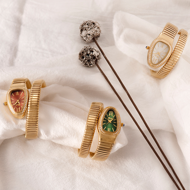 MISSFOX Women's Watches Snake Shape Luxury Wrist Watch For Women Steel Unique Gold Quartz Ladies Watch Clock Relogio Feminino 6