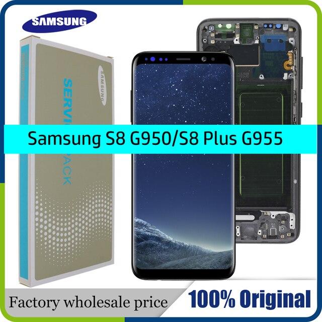 100% מקורי סופר AMOLED S8 LCD עם מסגרת לסמסונג גלקסי S8 G950 G950F תצוגת S8 בתוספת G955 G955F מגע מסך Digitizer