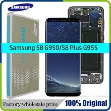 100% orijinal süper AMOLED S8 için çerçeve ile LCD SAMSUNG Galaxy S8 G950 G950F ekran S8 artı G955 G955F dokunmatik ekran Digitizer