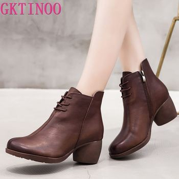 GKTINOO New High Quality Women Ankle Boots Handmade Genuine Leather Woman Boots Round Toe Lace Up Shoes Female Footwear