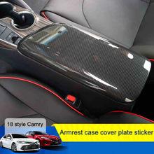 1 sztuk samochodów ABS z włókna węglowego pokrywa podłokietnika ochronne odporne na zadrapania drewna ziarna dekoracja wnętrz dla Toyota Camry 2018 tanie tanio Zestaw Suite CN (pochodzenie) Imitacja Włókna Węglowego