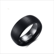 Korean version of popular jewelry 8MM brushed tungsten steel ring black tide male tungsten steel jewelry certain characterizations of tungsten ditelluride single crystals