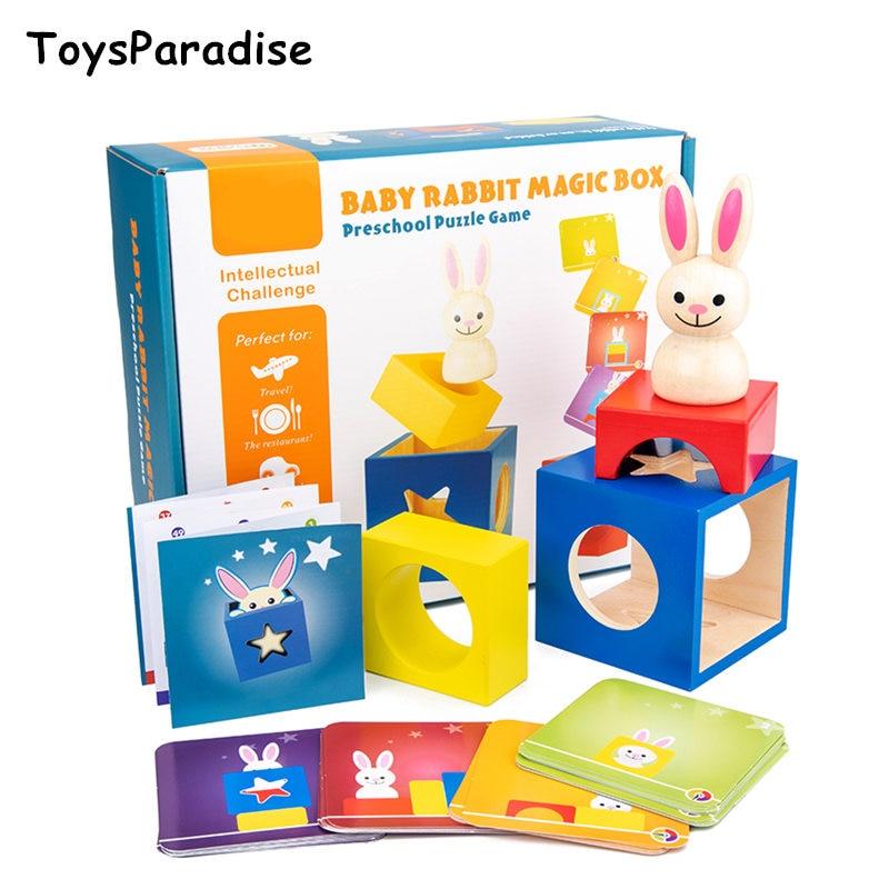 Dropshipping Baby Toys Rabbit Magic Box Wooden Toys For Kids Animal Geometric Building Blocks Educational Birthday Gift