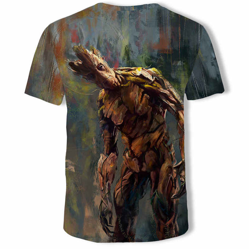 男性 3D tシャツ Groot 漫画夏半袖トップス tシャツ、おかしい印刷 3D 楽しい原宿 tシャツアジアンプラスサイズの新しい男性 Tシャツ
