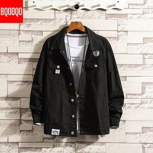 Image 1 - 6XL Baggy Jacken Schwarz Baumwolle Herbst Streetwear Fashion Armee Grün Hip Hop College Militärischen Stil Mantel Japan Bomber Jacke Männer