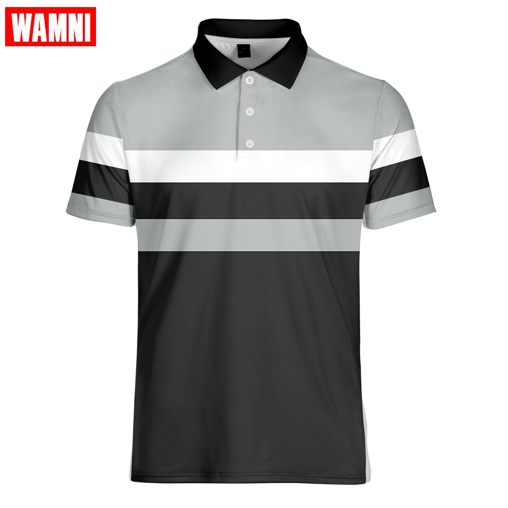 WAMNI Brand Tennis 3D Polo Shirt Sport Loose Harajuku Multi-color Stripe Casual Streetwear Tabal Tennis Top