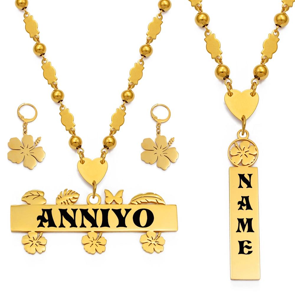 Anniyo Customize Capital Letters Necklace Earrings Set Women Men Girs,Personalized Guam Hawaiian Chuuk Kiribati Jewelry #150121B
