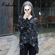Fitshinling Goth Dark Galaxy Chiffon Blouse Shirt Female Hollow Out Black Tops Autumn Slim Women Blouses Sexy 2019 Blusas