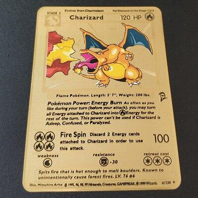 Покемон Игры Аниме битва карта золотая металлическая карточка Чаризард Пикачу коллекция карточная фигурка Модель Детская игрушка подарок - Цвет: Charizard