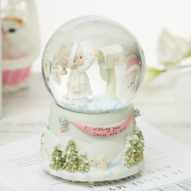 Ceramic Transparent Glass Music Box Japanese Carousel Musical Crystal Snowball Decoration Melody Caja Musical Gift Box EH50MB