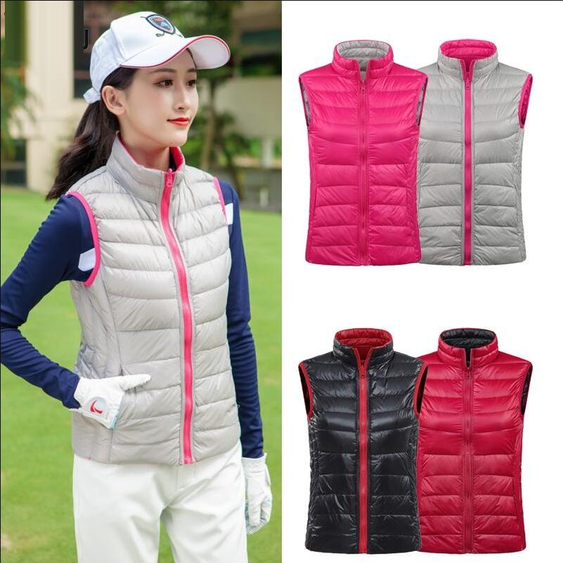 Reversível de Golfe sem Mangas Quente de Pato para Baixo Colete de Golfe Inverno Mulheres Outono Cabolsa Engrossar Colete Sportswear Leve