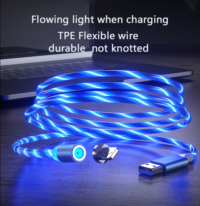 Magnetic Cable Flowing Light LED Micro USB Cable for Samsung Type C Charging for Xiaomi for iPhone Magnet Charger Cord Wire