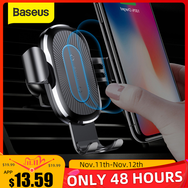 Baseus Qi Wireless Car Charger Phone Holder For iPhone Samsung Fast Charging Mount Stand Air Outlet Gravity Support 10W Charge