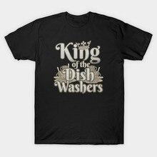 Hombres camiseta rey de los lavadores de platos divertido lavavajillas Vintage camiseta mujer camiseta