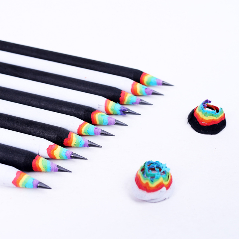 4pcs Cute Rainbow Wooden 2B Pencils Kawaii Gradient Student Cylindrical Pencil For Kids Gift School Supplies Pencil Stationery