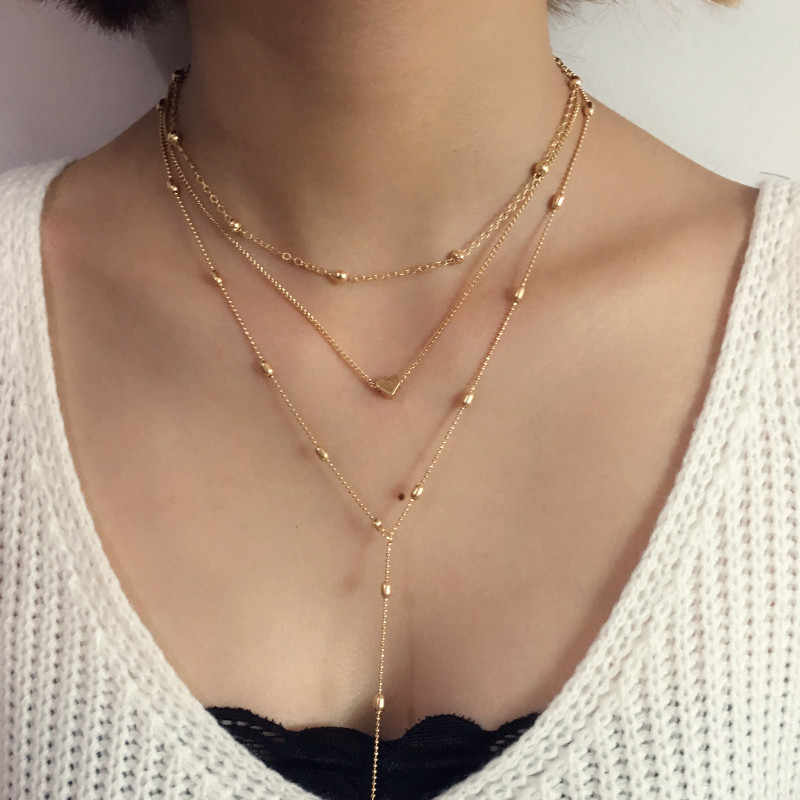 2019 Fashion Peach Heart Beads Necklace For Women Trinket  Gold Color Chain Choker Jewelery Pendant Neckless Layered Necklaces