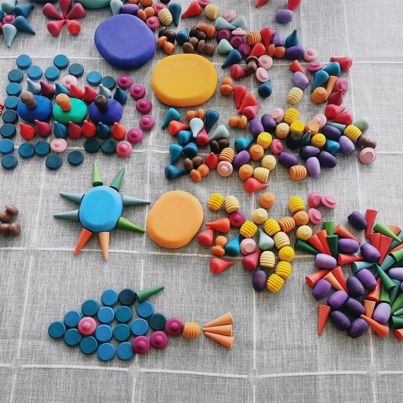 Купить детские деревянные игрушки радужный блок свободные части грибные