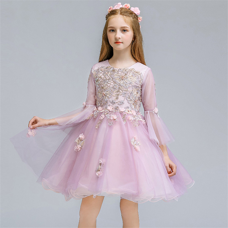 Little Girls Infant Baby Autumn Winter New Elegant Embroidery Flowers Long Sleeves Birthday Wedding Party Princess Fluffy Dress