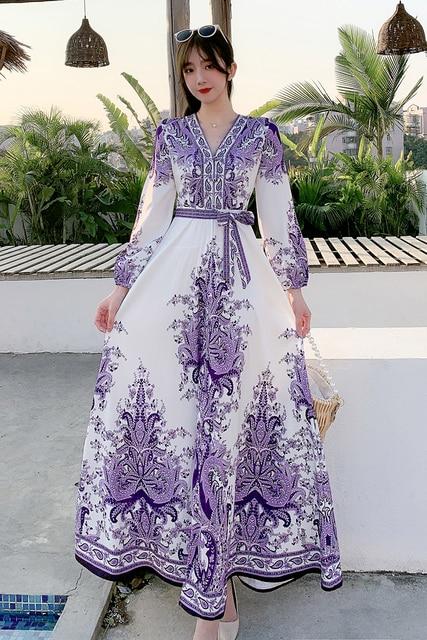 Fitaylor 2021 Spring Women New V Neck Long Sleeve Print Chiffon Lace-up  A-line Dress Casual Waist Slim Vacation Beach Dress 6