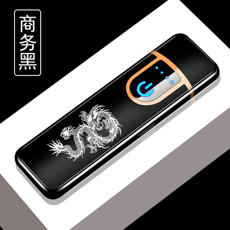 Персонализированная USB перезаряжаемая пластиковая зажигалка ветрозащитный сенсорный индукционный нагревательный провод прикуриватель - Цвет: Long