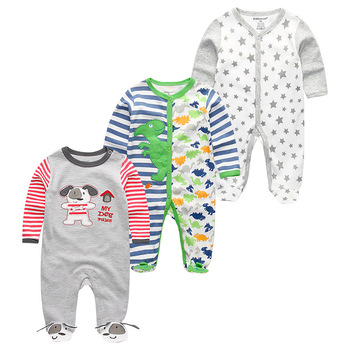 0-12Months Baby Rompers Newborn Girls&Boys 100%Cotton Clothes of Long Sheeve 1/2/3Piece Infant Clothing Pajamas Overalls Cheap - Baby Rompers RFL3712, 6M