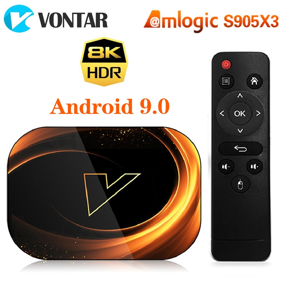 VONTAR X3 8K Amlogic S905X3 4GB RAM 64GB TV Box Android 9.0 Set Top Box 1000M Dual Wifi 4K Youtube Netflix Smart TV Box 4G 32G