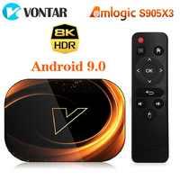 VONTAR X3 8K Amlogic S905X3 4GB RAM 64GB TV, pudełko Android 9.0 dekoder 1000M podwójny Wifi 4K Youtube Netflix Smart TV Box TV, pudełko 4G 32G