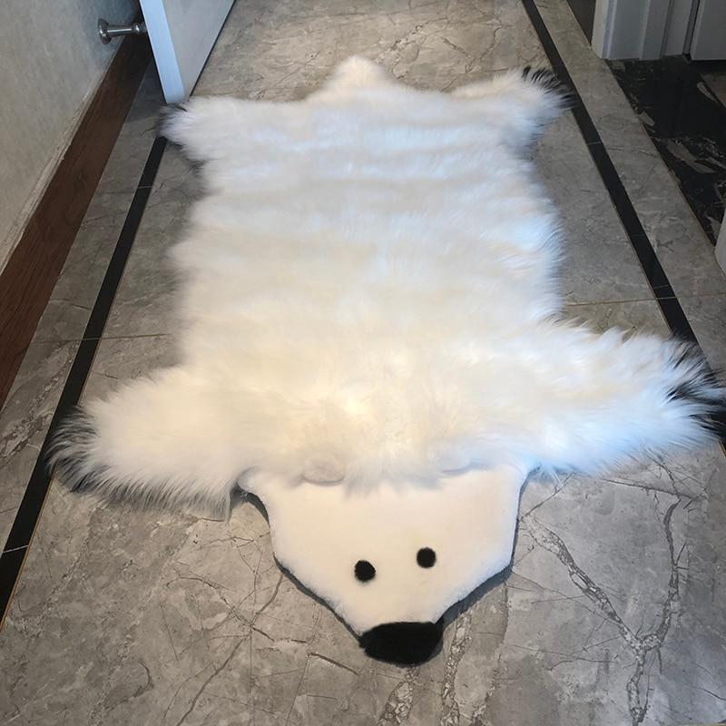 New Faux Fur Carpet White Polar Bear Rug 80x140cm Long Plush Animal Rugs And Carpets For Home Living Room Bedroom Big Floor Mat