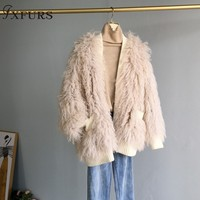 2019 New Arrival Women Knitted Mongolia Lamb Fur Jackets Outwear Girl Fashion Real Fur Overcoats Lamb Fur Coats Winter Warm Fur