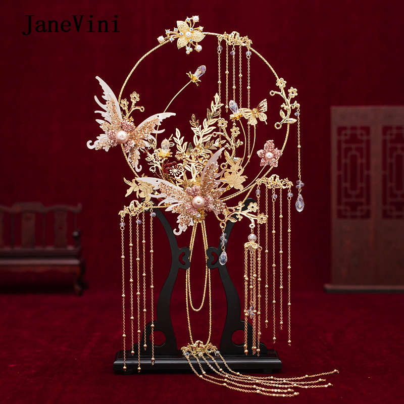 JaneVini Newest Designer Chinese Bridal Fan Bouquet Gold Tassels Handmade Metal Round Fan Artificial Flowers Wedding Accessories