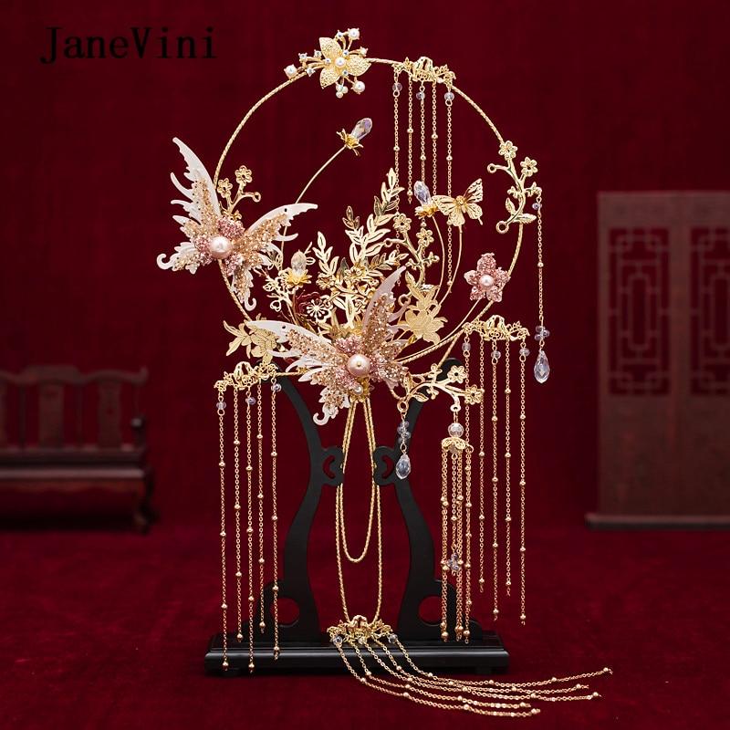 JaneVini Newest Designer Chinese Bridal Fan Bouquet Gold Tassels Handmade Metal Round Fan Artificial Flowers Wedding Accessories