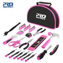 PROSTORMER 69PCS Tool Sets Woodworking Hand Repair Tools Girls Household DIY Knife Screwdrivers Wrench Pink With Tool Bag cheap Combination PTHT3500A Household Tool Set 32*20*6 Slip Joint Plier Cable Ties Cutting Scissors Magnetic Bit Driver Torpedo Level