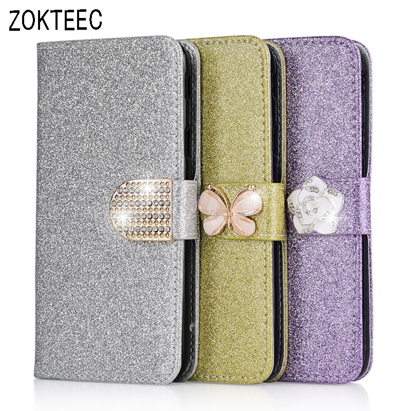 ZOKTEEC Leather Case Wallet Cover For OnePlus 7 Fashion Bling Diamond Glitter Pro Flip With Card Slot
