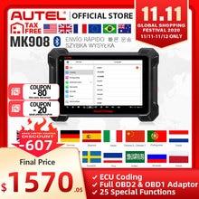 Autel MaxiCOM MK908 OBD2 סורק רכב כלי אבחון OBDII OE ברמת דו כיוונית בקרת מפתח מתכנת קוד קורא PK MK808