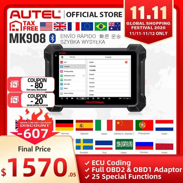 Autel MaxiCOM MK908 OBD2 Scanner Car Diagnostic Tool OBDII OE level Bi directional Control key programmer Code Reader PK MK808